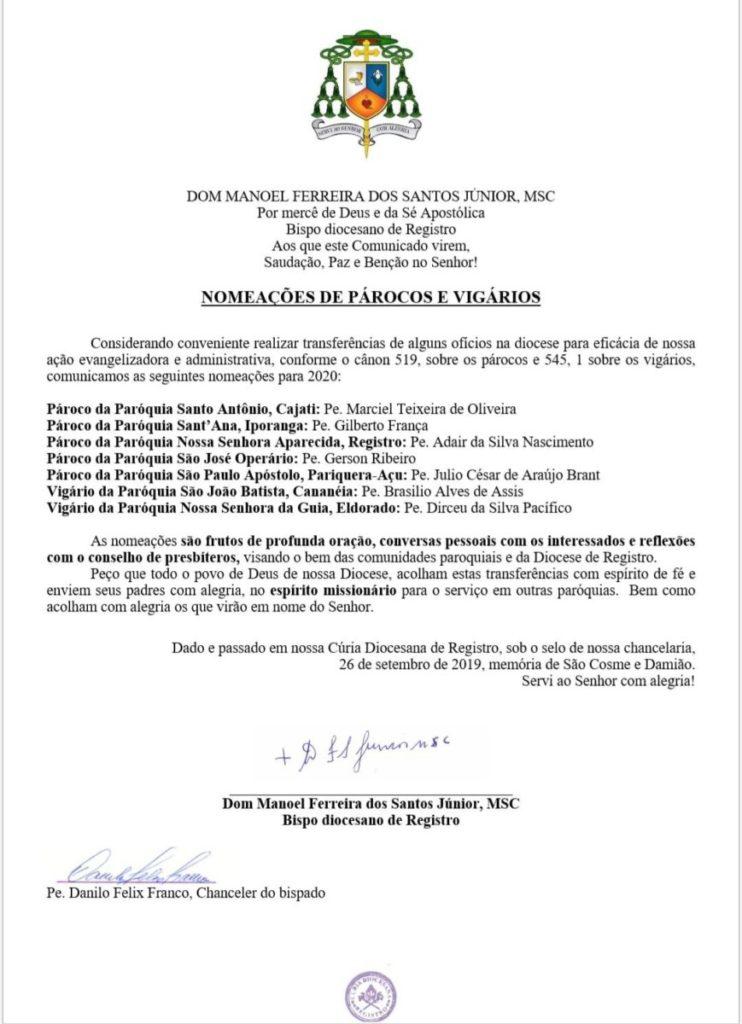 Dom Manoel F. dos Santos Jr, MSC, bispo diocesano de Registro, anuncia nomeações para o ano de 2020